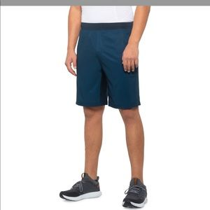 Gaiam men's rise shorts in blue wing teal heather